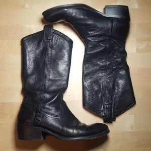 Frye Black Leather Western Boots